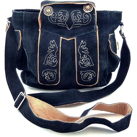 Trachtentasche Dirndltasche Lederhosen-Tasche Umhängetasche Wild-Leder Dunkel-Blau