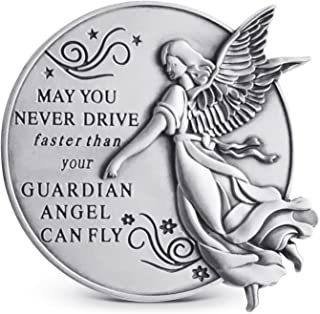 Guardian Angel Visor Clip For Car: 2-1/4 Inch Diameter Metal, Reads MAY YOU NEVER DRIVE FASTER THAN YOUR GUARDIAN ANGEL CAN FLY, Best Parents Gift Idea for New Driver & Loved Ones Cars (1)