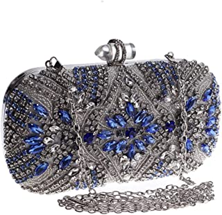 Perfect Home Fashion Evening Dress Clutch Lady Crystal Rhinestone Diamond Inlaid Buckle Banquet Bag Chain Shoulder Portable Slung Small Square Bag Silver Size: 19 * 5 * 9cm (Color : Silver)
