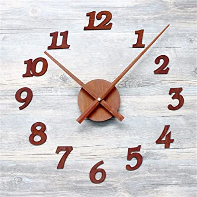 Imoerjia Retro Rust Metal Texture DIY Wall Clock Creative Digital Living Room Clocks