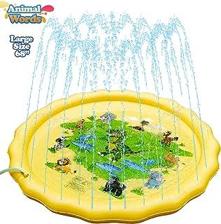 "NAKAWU Splash Pad, 68"" Large Water Splash Pad for Kids, Summer Sprinkler Splash Pad, Splash Sprinkler Pad Outdoor Water Toys, Yellow Sprinker Pad"