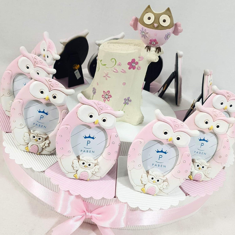Torte Gastgeschenk Bomboniera Mdchen Bilderrahmen Storch Geburt Taufe Torta da 48 fette + centrale