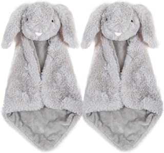 Baby Security Blanket - Giftset of 2 Small Gray Bunny Rabbit blankies with washbag, Soft Stuffed Plush Toy Blankie Soother...
