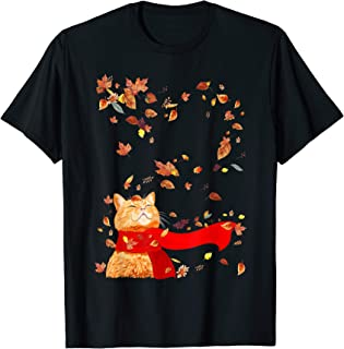 Maple Cat Leaf Fall Hello Autumn Funny Cat Kitten Lover T-Shirt