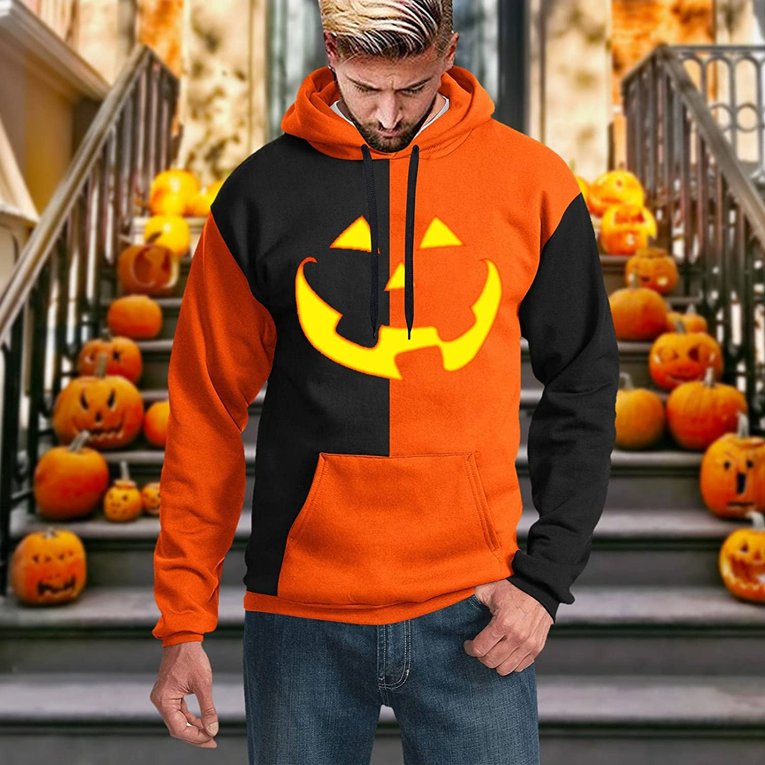 XXBR Hoodies for Mens, 3D Halloween Pumpkin Jack-o-Lantern Print Pullover Loose Casual Party Novelty Hooded Sweatshirts