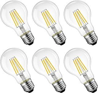 LED電球 60W形相当 E26口金 フィラメント電球 6W A60 2700K電球色 806lm クリアタイプ レトロ電球 雰囲気 3年保証 非調光 PSE 6個入