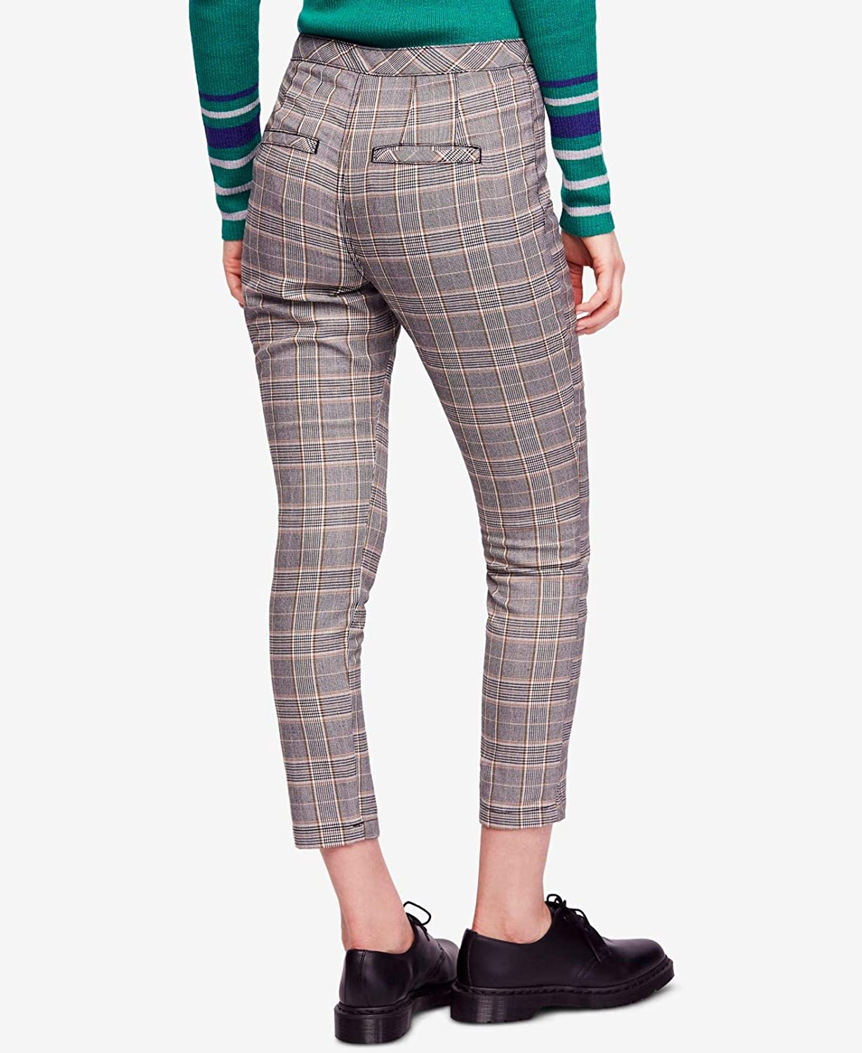 Free People Womens Tailored Plaid Cropped Pants