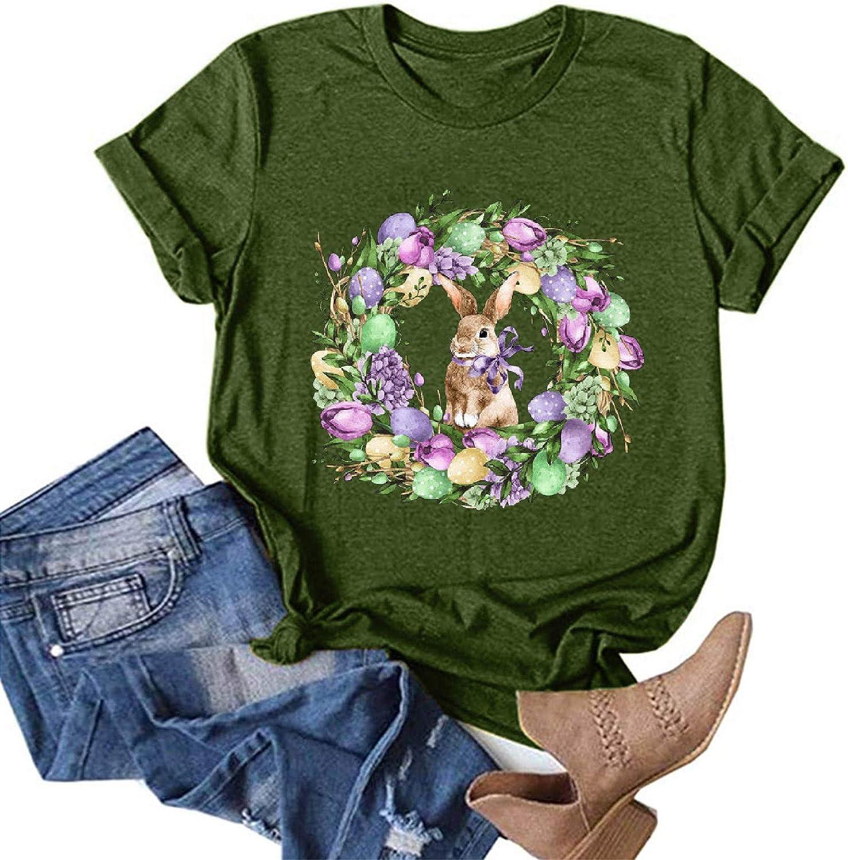 soyienma Shirts for Women Plus Size,AODONG Women's Short Sleeve Crewneck Shirts Loose Casual Tee T-Shirt Army Green