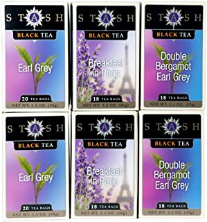 Stash Tea 6-Flavor Assortment Tea The Earls 6 Count Tea Bags Individual Tea Bag Variety Pack, Use in Teapots Mugs or Cups, Brew Hot Tea or Iced Tea