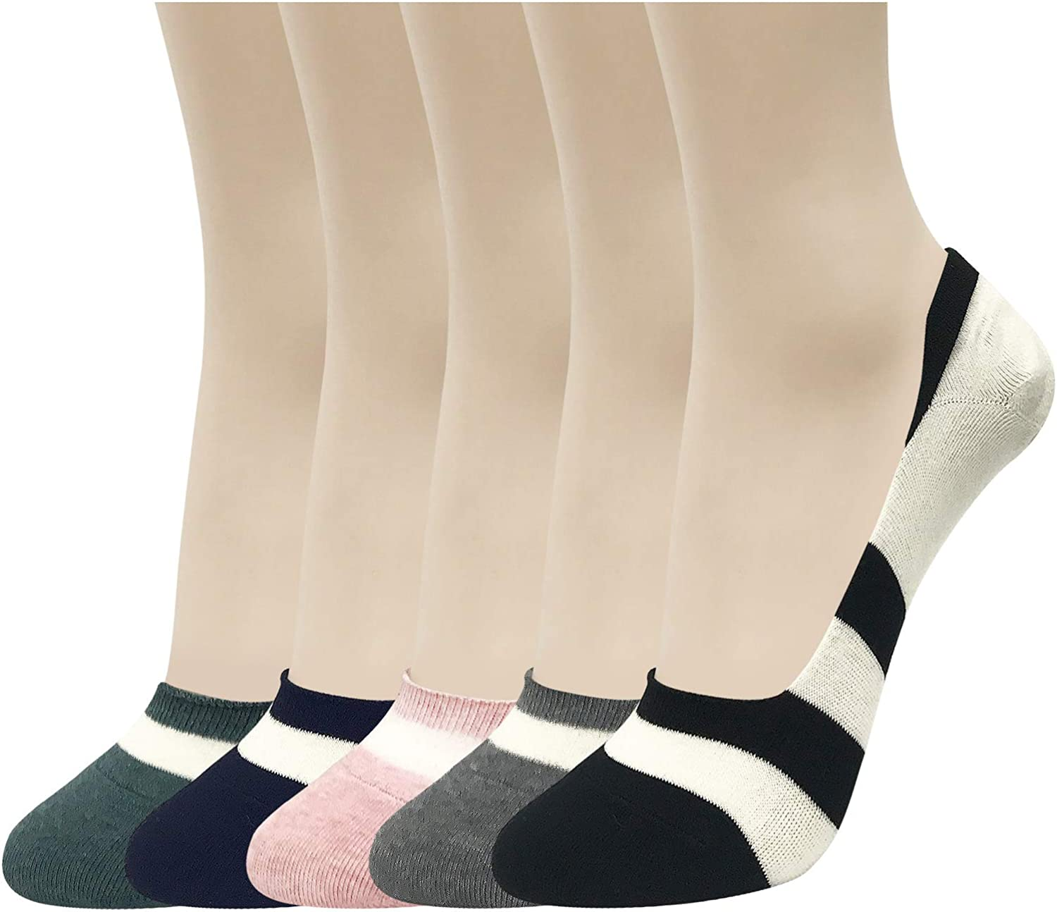 CUTIE MANGO Women's Casual Striped Non Slip Low Cut No Show Socks Liners 5 Soft Colors / 3 to 10 Pairs