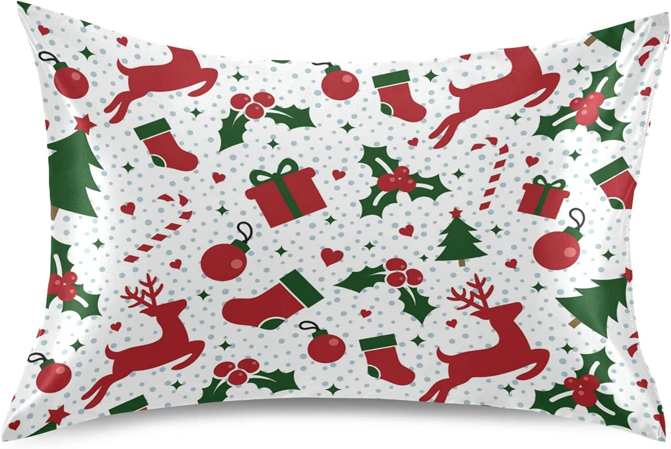 xigua Christmas Satin Pillowcase for Hair specialty shop Skin 2021 autumn and winter new Cooling Pil