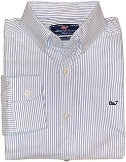 Vineyard Vines Men's Long Sleeve Button Down Whale Shirt Oxford (Medium, Moonshine Striped Oxford)
