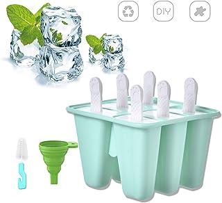 Moldes para Helados de Silicona Reutilizable DIY Moldes Silicona Moldes de Polos Paletas de Helado para Picaduras de Huevo Piruleta y Helado… (Verde)