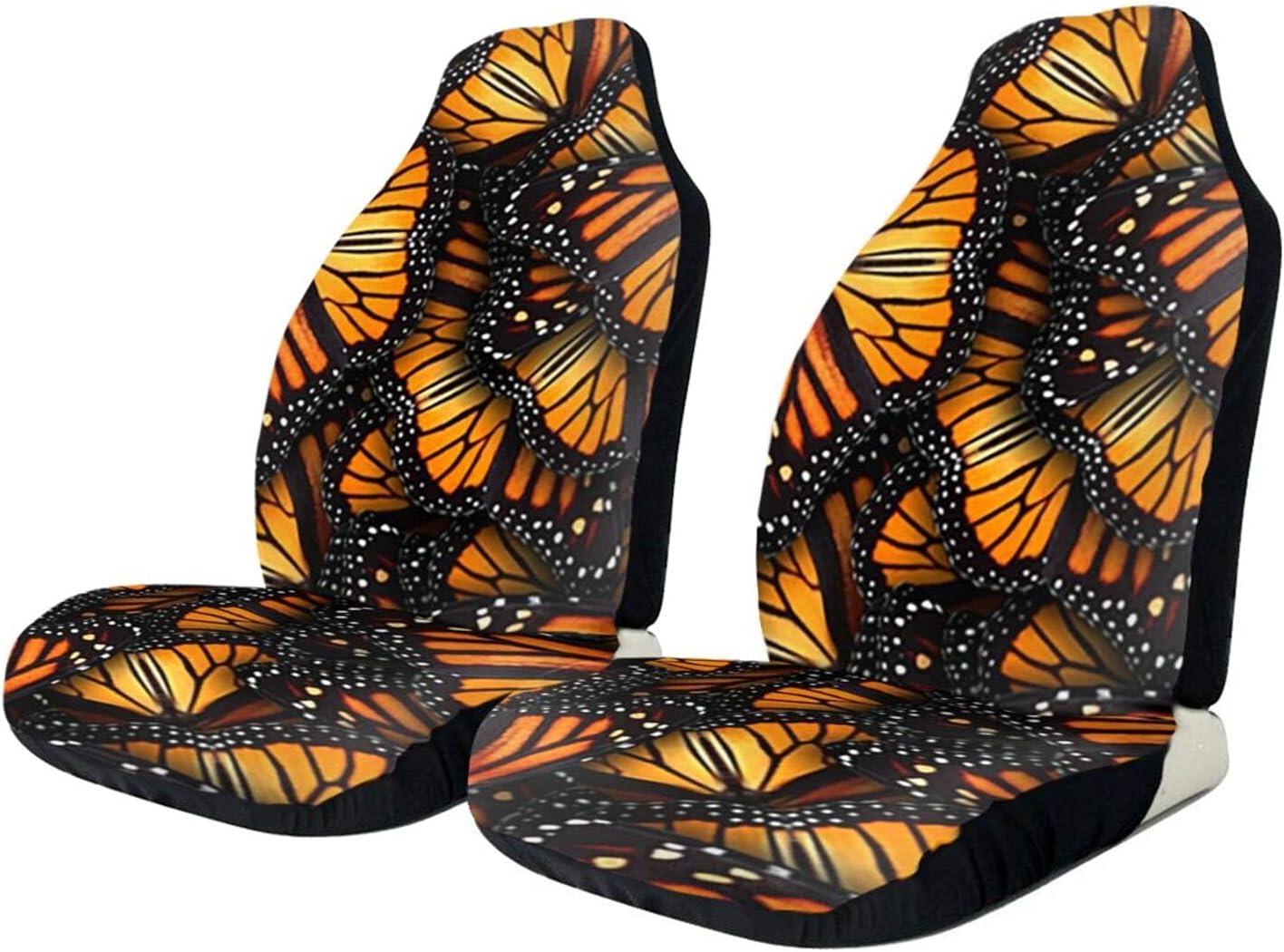 BCVDGFKJ Austin Mall Monarch Butterflies Print 2 Protecti Deluxe car seat Front PCS