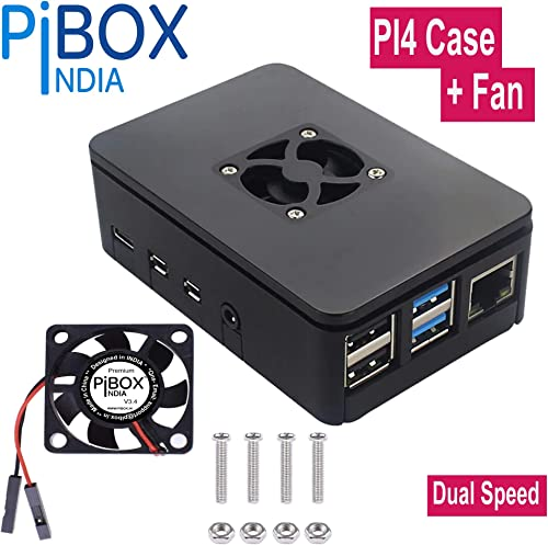PiBOX India Raspberry Pi 4 Case with Fan Dual Speed 1Gb, 2GB, 4GB Black, with air Vents, with High and Low Speed Option Fan Modular Design with readouts, Pi 4B, Pi 4,Camera and Ports ABS (Black) product image
