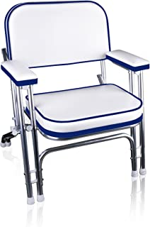 Leader Accessories Portable Folding Deck Chair Boat Seat with Aluminum Frame and Armrests