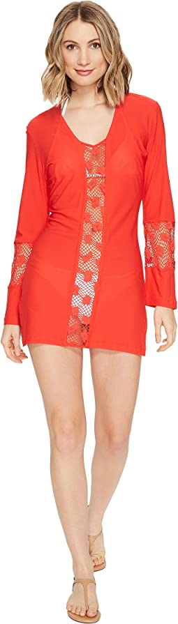 Luli Fama - Cosita Buena Crochet Cut Out Plunge V-Neck Dress Cover-Up