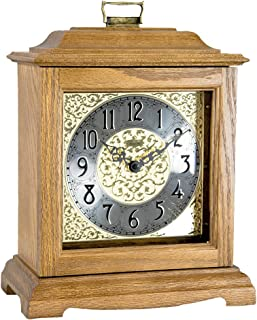 Qwirly Store: Austen Bracket-Style Quartz Mantel Clock by Hermle 22518I9Q - Classic Decorative Antique Style Table Clock with Westminster Chime Movement - Light Oak