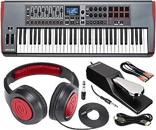 Novation Impulse 61 USB Midi Controller Keyboard, 61 Keys with Headphones & Assorted Cables Basic Bundle