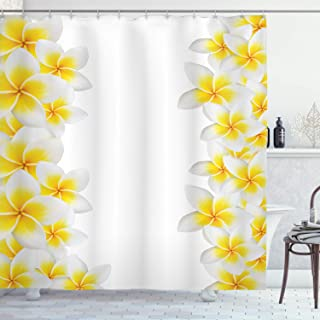 Ambesonne Hawaiian Decorations Collection, Frangipani Blossom Exotic Nature Garden Plumeria Flower Frame Relaxation Image, Polyester Fabric Bathroom Shower Curtain Set with Hooks, Yellow White