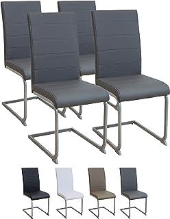 Albatros Silla Cantilever Murano Set de 4 sillas Gris, SGS Probado