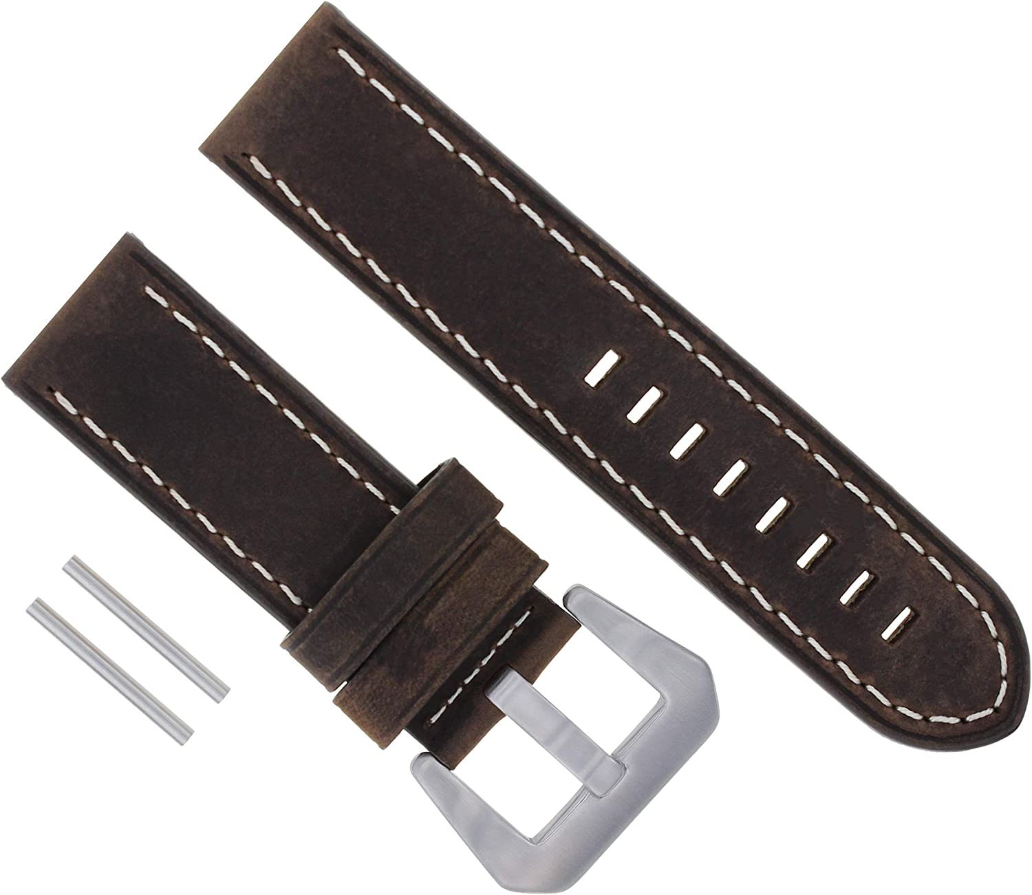 24mm Cow Leather Max 65% OFF Watch Band Strap Compatible with Great interest Pam Lu Panerai