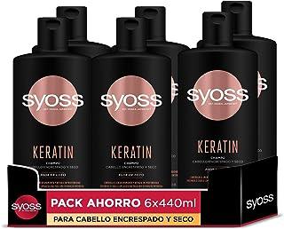 Syoss - Champú Keratin - 6uds de 440Ml (2640ml) – Para cabello encrespado y seco - Controla el encrespamiento y repara en ...