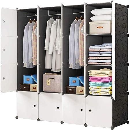 BRIAN & DANY Armoire Portable, Penderie avec Portes, Storage Modulable Meuble Étagères de Rangement, 16-Cube