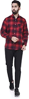 6TH AVENUE STREETWEAR Men's Checkered Slim Fit Casual Shirt - Red