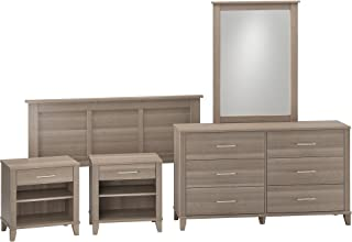 Bush Furniture Somerset Dresser with Mirror, Headboard and 2 Nightstands in Ash Gray