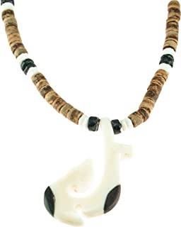 BlueRica Hand Carved Hawaiian Tribal Bone and Wood Fish Hook Pendant on Tiger Coconut & Puka Shell Beads Necklace