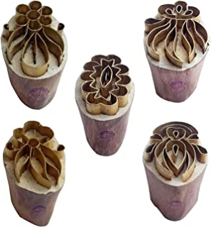 Royal Kraft Floral Brass Wooden Printing Stamps (Set of 5) - DIY Clay, Pottery Blocks BHtag0012