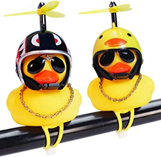 wonuu Rubber Duck Car Ornaments, 2Pcs Yellow Duck Car Dashboard Decorations Squeeze Duck Bicycle Horns with Propeller Helm...