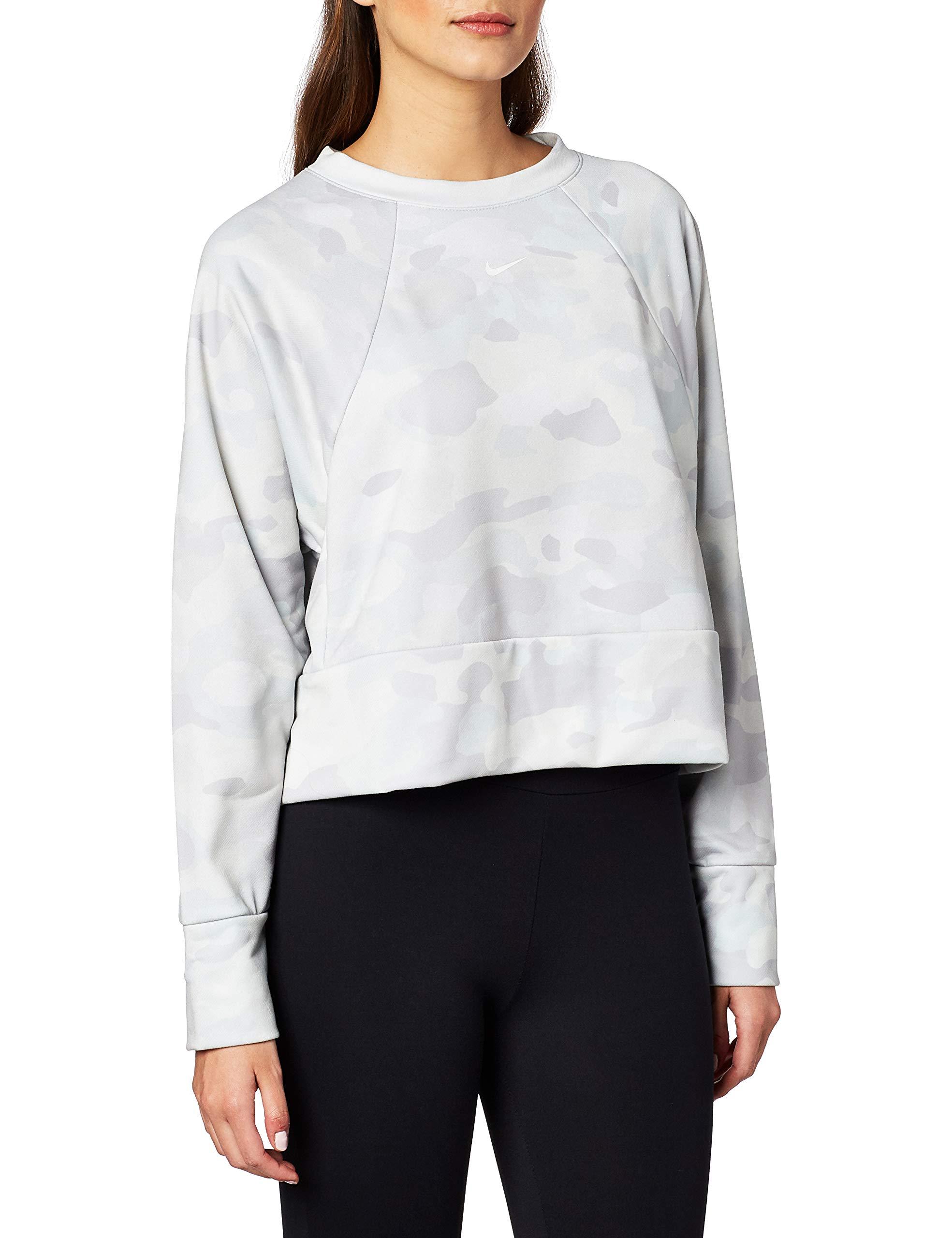 Nike Damen Rebel Dy All In Fc Crew Camo Sweatshirt, Wolf Grey/White, M