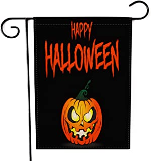 "Fiuqaomy Happy Halloween Pumpkin Garden Flag Vertical Double Sized, Holiday Burlap Yard Outdoor Decoration 12.6"" 18.5"""