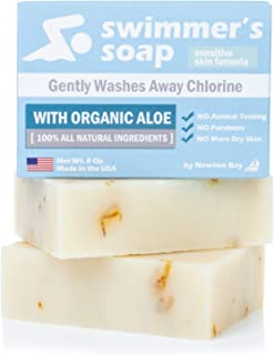 Swimmer's Soap by Newton Bay - All Natural Aloe Bar Soap to Gently Wash Away Chlorine After Swimming (2-Pack of 4 Ounce So...