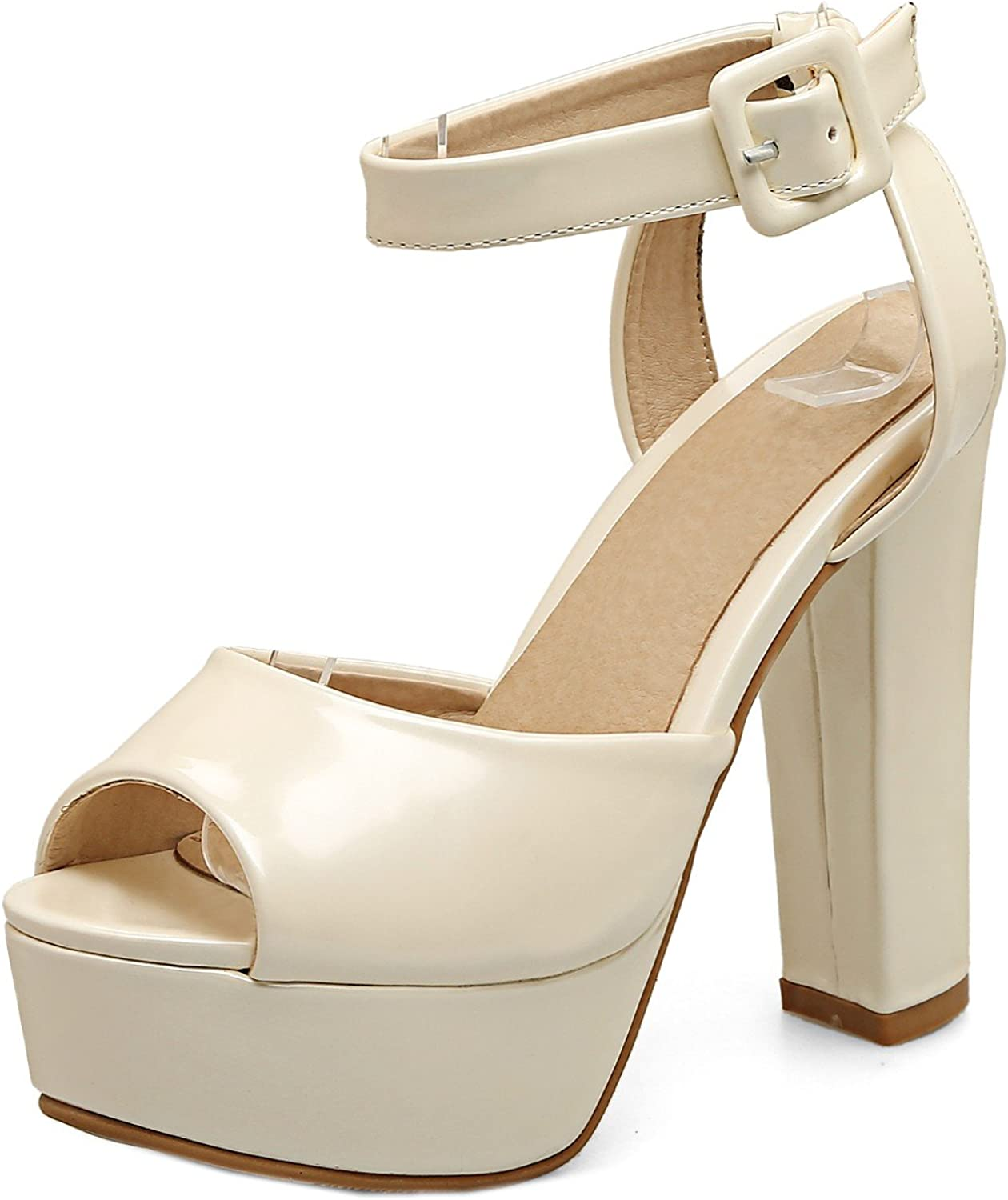 Rongzhi Womens Pumps Thick High Heels Platform Ankle Strap Buckle Sandals Party Dress Heeled shoes