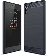 Sony Xperia XZ Case, Ikwcase Carbon Fiber Skin Resilient TPU Shockproof Armor Protective Case Cover for Sony Xperia XZ Navy Blue