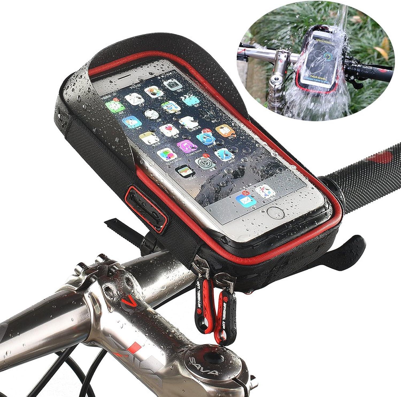 Bike Bag, Bicycle Front Frame 2 in 1 Waterproof Phone Mount Holder & Wallet Touch Screen Handlebar Bags (Below 6 inch)