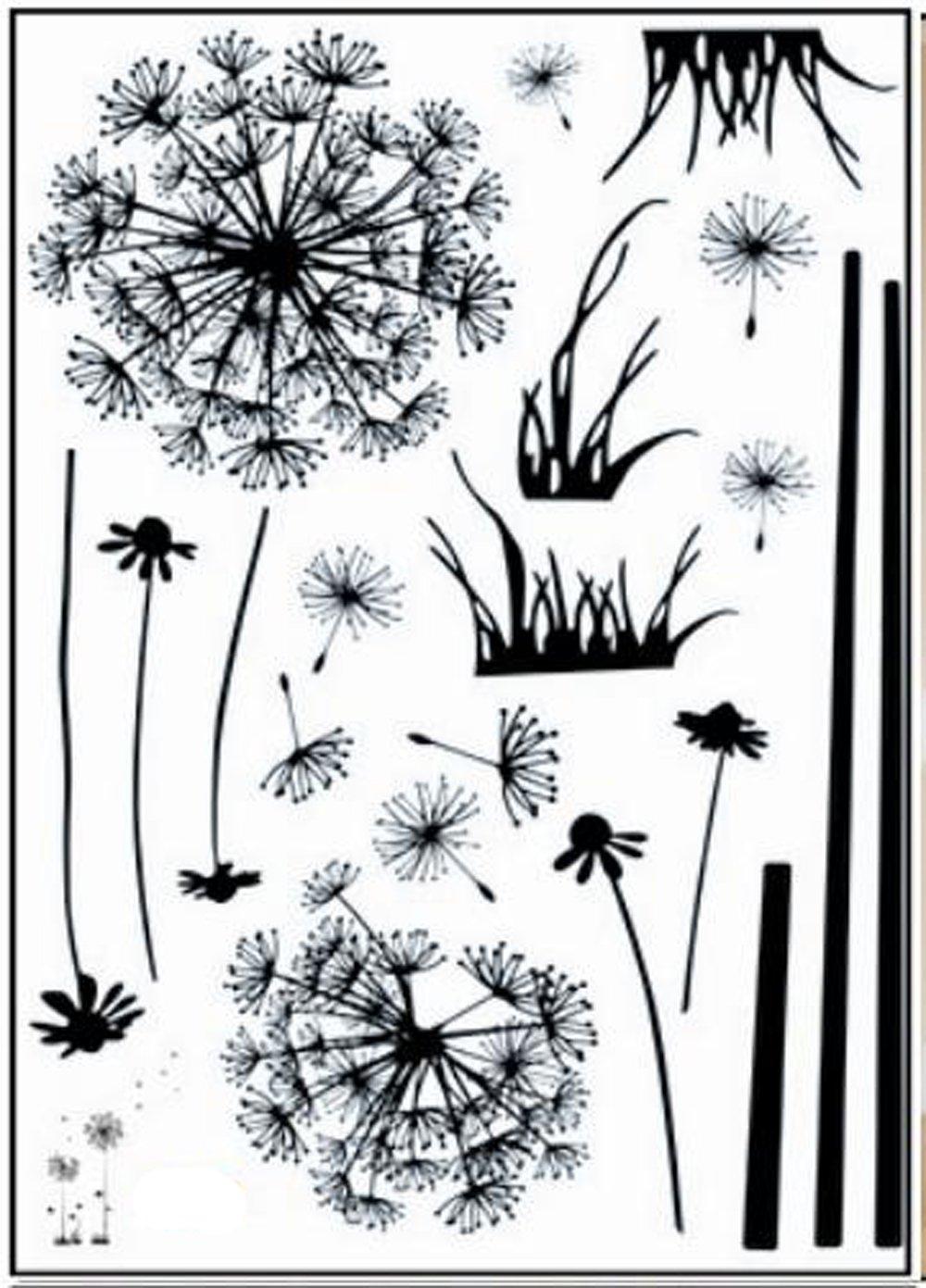 Walplus - Vinilo Adhesivo de Quita y pon para la Pared, diseño de Dientes de león Volando, Color Negro: Amazon.es: Hogar