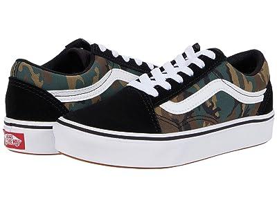 Vans Kids ComfyCush Old Skool (Little Kid) ((Woodland Camo) Black/True White) Boys Shoes