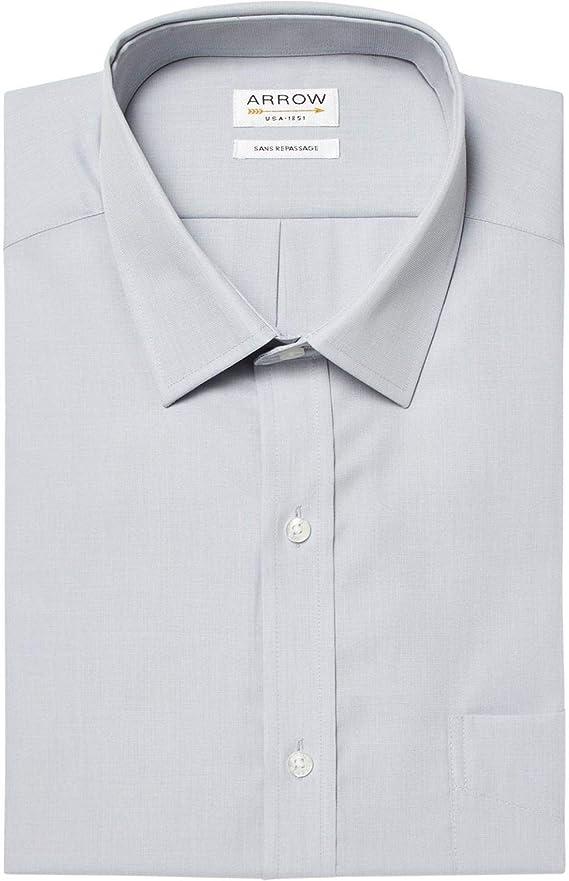 Arrow - Camisa de manga corta sin plancha, color gris perla ...