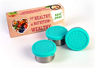 Eco Zooi - Dipping Sauce Containers set - stainless steel condiment containers with silicone lids - salad dressing containers - portion control - leakproof and reusable - 3x3.3oz