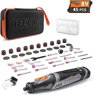 TACKLIFE Herramienta Rotativa Inalámbrica de 8 V, con 43 Accesorios y Accesorio de Protección, Batería de Litio de 2.0 Ah con Carga Rápida de 1A, Ideal para lijar, pulir, cortar, grabar, etc. RTD02DC