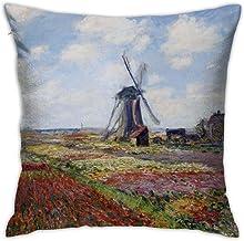Fundas de almohada fundas de almohada de Claude Monet, impresionismo, campos de tulipán con molino de viento de Rijnsburg, cuadradas para el hogar de 45 cm solo funda sin inserto