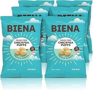 BIENA Chickpea Snack Puffs, Vegan Ranch   Gluten Free & Grain Free   Plant-Based Protein (6 Pack)