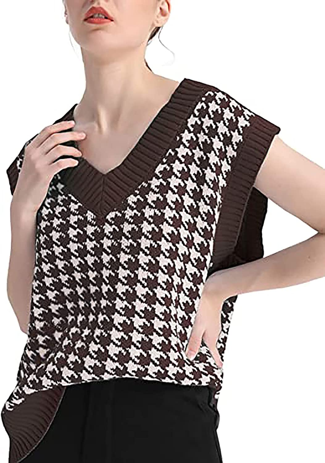 Meladyan Max 73% OFF Women's Oversized Houndstooth Knitted Swea Clearance SALE Limited time Graphic