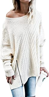 Ofenbuy Womens Oversized Sweaters Batwing Sleeve Round Neck Patchwork Cable Knit Pullover