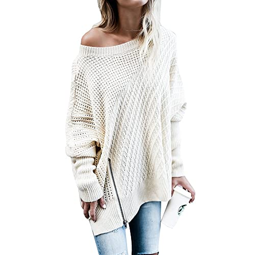 8405d83ccd02 Ofenbuy Womens Oversized Sweaters Batwing Sleeve Round Neck Patchwork Cable Knit  Pullover