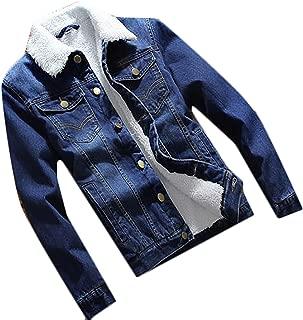 Mens Fashion Velvet Winter Warm Fur Collar Slim Fit Denim Jacket